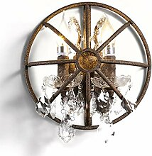 Vintage Industrie Wandlampe Shabby Kristall