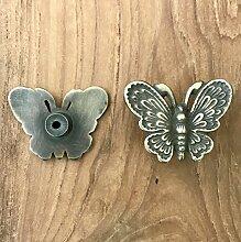 Vintage Interior Möbel-Knöpfe Kommoden-Griffe Schubladen-knauf Schmetterling antike messing-ware