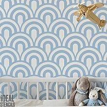 Vintage Jakobsmuschel Art déco Muster Schablone Heim Wand Dekorieren Kunst & Basteln Schablone Farbe Wände Stoffe & Möbel 190 Mylar wiederverwendbar Schablone