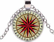 Vintage Jewelry Halskette mit Kompass-Anhänger,