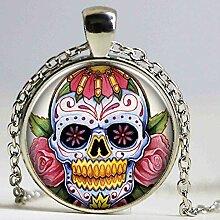 Vintage Jewelry Halskette mit Totenkopf-Anhänger,