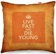 VINTAGE Keep Calm And Live Fast Die Young Sofa Cushion Kissen - (45x45cm) Medium