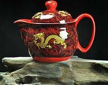 Vintage Keramik-Teekanne mit Sieb handgemachte