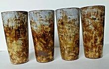 Vintage Keramikbecher von Alexandre Kostanda, 4er