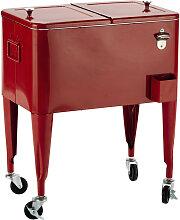 Vintage-Kühlbox auf Rollen FRESH aus Metall, H 77