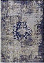 Vintage Kurzflor Teppich in Blau und Grau 1 cm hoch