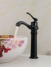 vintage ?l-rieb Bronze einzigen Handgriff Arbeitsplatte Messing Waschbecken Wasserhahn - black
