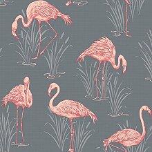 Vintage Lagune Flamingo Tapete grau/koralle–Arthouse 252603
