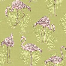Vintage Lagune Flamingo Tapete Grün/Pink–Arthouse 252602