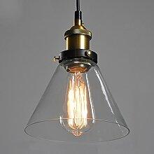 Vintage-Lampe Glas Industrieller Retro-Stil, Montagekabel, Deckenlampe, Edison