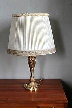 Vintage Lampe mit Säule aus Gussmessing