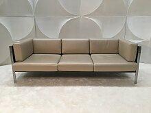 Vintage Leder & Holz Sofa