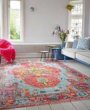 Vintage look Teppich | im angesagten Shabby Chic Look | für Wohnzimmer, Schlafzimmer, Flur etc. |(225 x155 cm)