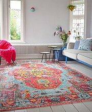 Vintage look Teppich | im angesagten Shabby Chic Look | für Wohnzimmer, Schlafzimmer, Flur etc. |(nr 954 - 275 x185 cm)