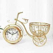 Vintage Metall Dreirad Uhr - goldene