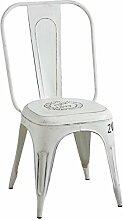 vintage Metall Stuhl, Antik-Weiß