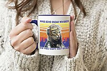 Vintage Mike Whiskey Meow Cat Pilot Do You Copy me