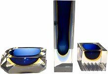 Vintage Murano Glas Vase, Aschenbecher &
