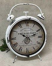 Vintage Nostalgie Uhr Tischuhr Clock weiß antik