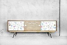 Vintage Nussholz Atomic Sideboard mit Muster,