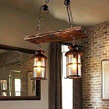 Vintage Pendelleuchte Holz Hängende Lampe Eisen