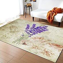 Vintage Pflanze Lavendel Lila Teppiche für