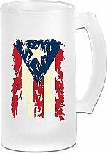 Vintage Puerto Rico Flagge DIY Druck Glas Bier