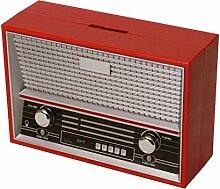 Vintage Radio Spardose in rot - Vintage Radio Sparbüchse Sparschwein Sparen