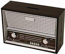 Vintage Radio Spardose in schwarz - Vintage Radio Sparbüchse Sparschwein Sparen