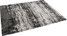 Vintage rechteckiger Teppich schwarz/beige 160 x