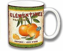 Vintage Retro Clementinen Keramik Kaffee Tasse Einzigartige Geschenkidee