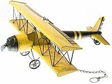 Vintage / Retro Dekoration / Tischdekoration - Großes Miniatur Flugzeug zum Hängen & Stellen - Länge 57cm - Metall - Gelb - Geschenkidee für Kinder