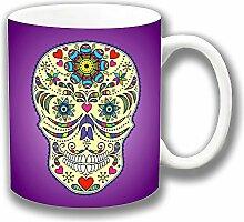 Vintage Retro Mexikanischer Sugar Skull Tag Der Toten Lila Keramik Tee Kaffee Tasse Einzigartige Geschenkidee
