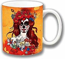 Vintage Retro Mexikanisches Zucker Totenkopf Day of the Dead Mädchen Keramik Tee-/ Kaffeetasse Einzigartige Geschenkidee