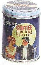 Vintage / Retro Werbung MIDNIGHT Marke Coffee Blechdose / Vorratsdose