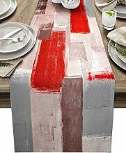 Vintage roter Tischläufer aus Baumwollleinen, 274