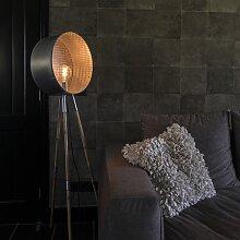 Vintage runde Stehlampe aus Bambus Dreibein Zink -