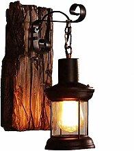 Vintage Schmiedeeisen Wandlampe Segeln Holz Wand