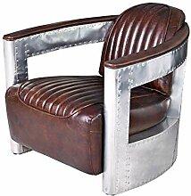 Vintage Sessel Aviator Clubsessel Leder & Metall