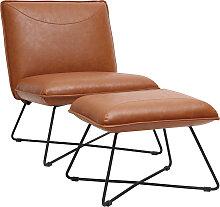 Vintage-Sessel Braun mit Fußstütze PHILO