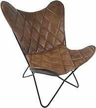 Vintage Sessel Butterfly Argyle Loungesessel Leder