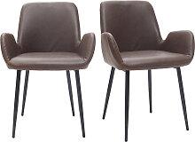 Vintage-Sessel Dunkelbraun mit schwarzen