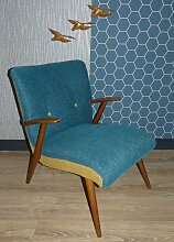 Vintage Sessel in Blau & Gelb, 1960er
