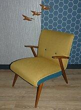 Vintage Sessel in Gelb & Blau, 1960er
