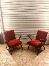 Vintage Sessel mit Armlehnen, 2er Set