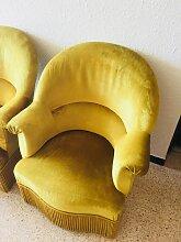 Vintage Sessel mit gelbem Samtbezug, 1960er, 2er