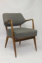 Vintage Sessel mit grauem Chevronbezug von Walter