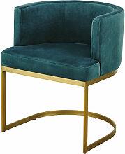 Vintage-Sessel mit Samtbezug, smaragdgrün