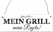 Vintage Shabby Türschild MEIN GRILL MEINE REGELN