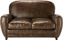Vintage-Sofa 2-Sitzer aus Leder, braun Oxford